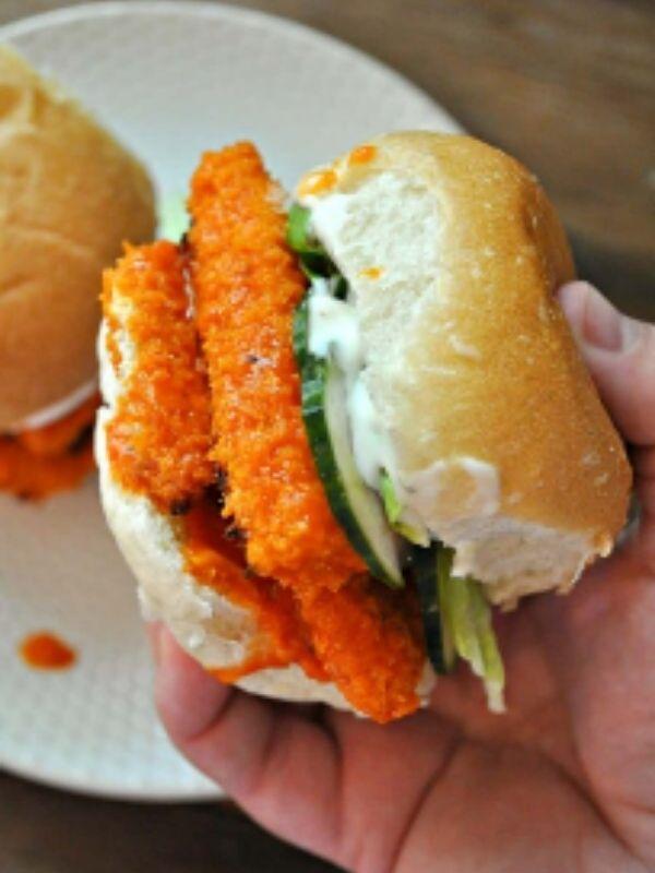 Vegan Garlic Buffalo Tofu Sandwich