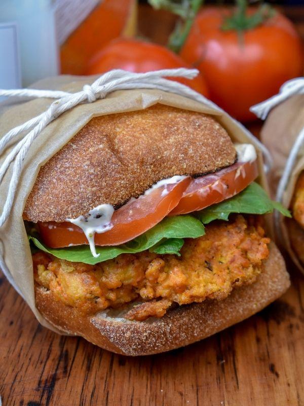 Vegan Wendy's Mock Spicy Chicken Sandwiches
