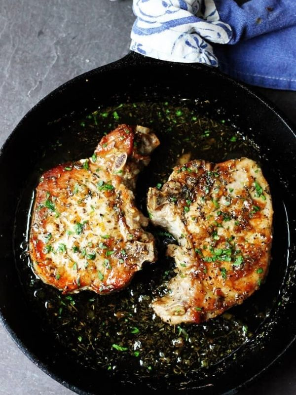 Brown Sugar Pork Chops with Garlic and Herbs