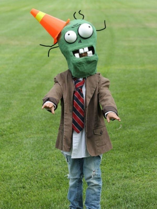DIY Plant vs Zombie Cone Head Zombie Costume