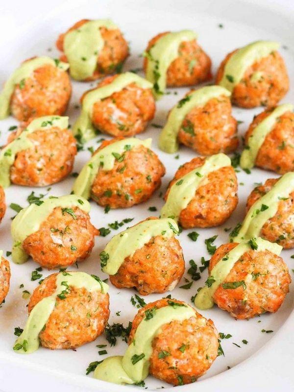 Baked Salmon Meatballs with Creamy Avocado Sauce