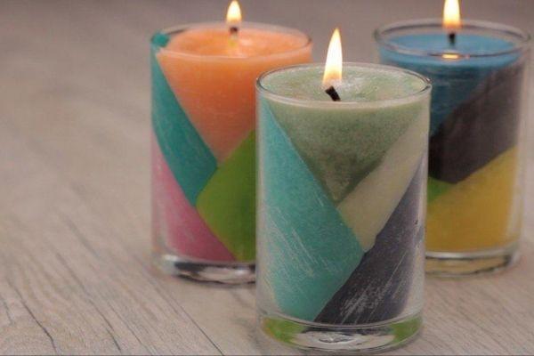 DIY Color Block Crayon Candles