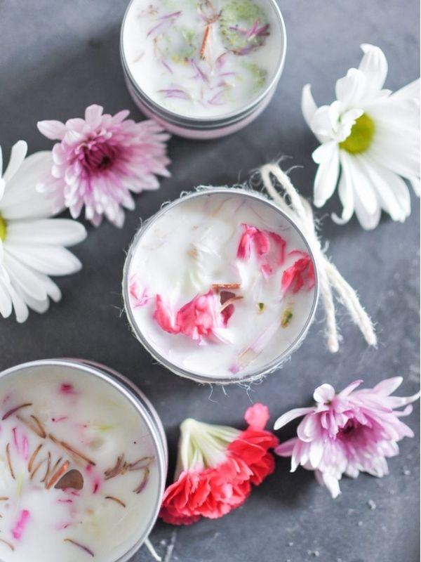DIY Floral Candles