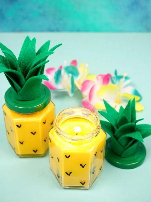 DIY Pineapple Candles