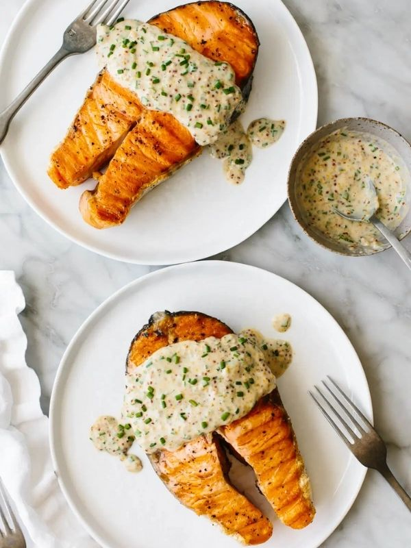 Grilled Salmon Steaks with Creamy Mustard Chives Sauce