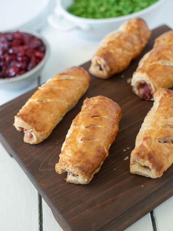 Turkey, Stuffing and Cranberry Sausage Rolls